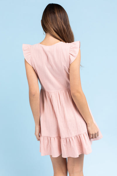 FLUTTER SLEEVE BOTTOM RUFFLE DRESS