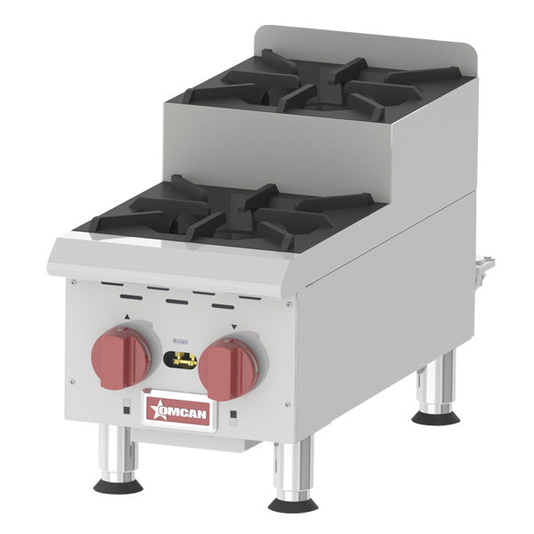 Omcan CE-CN-0212-S 2-Burner Countertop Stainless Steel Step-Up Gas Hot Plates 44198