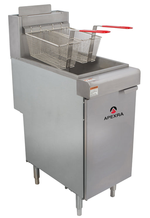 Apexra APX3-40N 40lb Capacity Gas Deep Fryer, 3 Tube, 90,000 BTU, Natural Gas - RestaurantStock.com