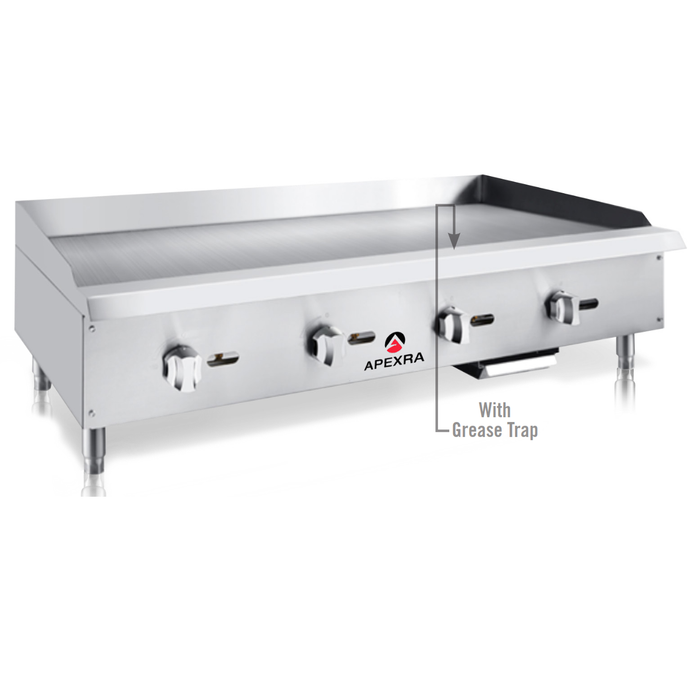 "Apexra APMG-48LP Manual Griddle, 48"", 120,000 BTU, Liquid Propane - RestaurantStock.com"