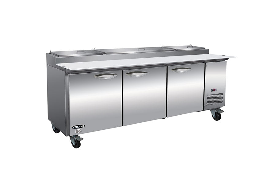 "IKON  IPP94-4D 94.2"" Three Section Pizza Prep Table with 4 Drawers"