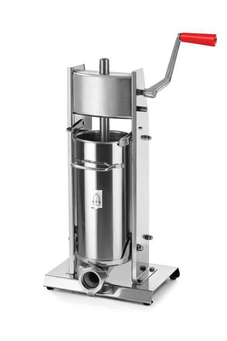 Omcan 13734 elite series all stainless steel vertical two-speed gear-driven manual sausage stuffer with 11 lb. capacity