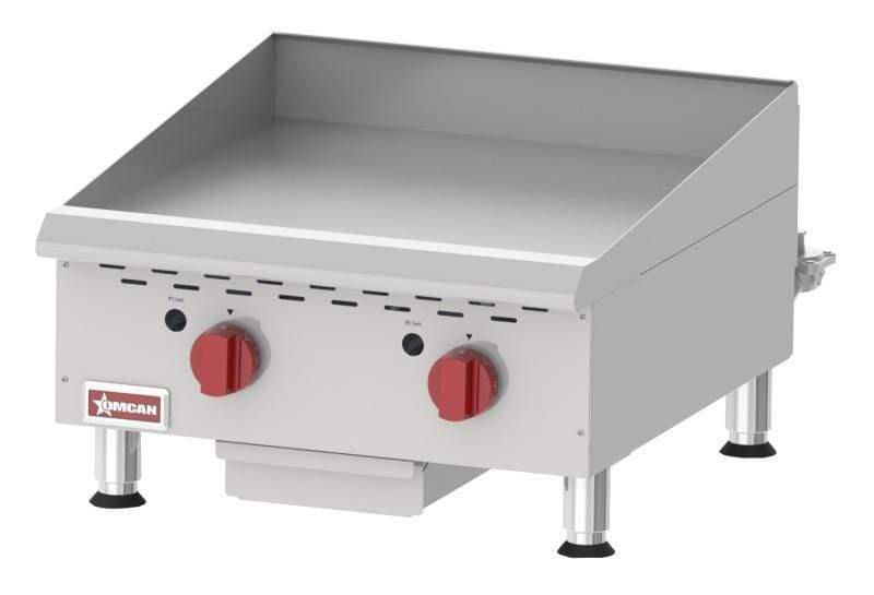 Omcan CE-CN-G24TPF Countertop Stainless Steel Gas Griddle With Thermostatic Control with 2 Burners 43017