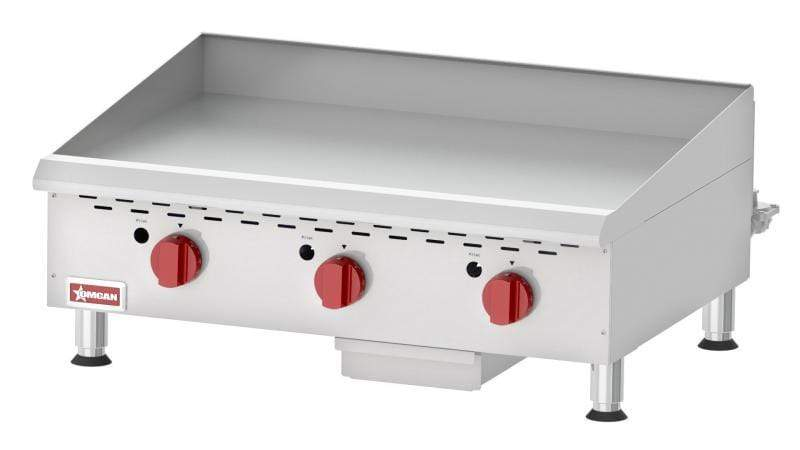 Omcan CE-CN-G36TPF Countertop Stainless Steel Gas Griddle With Thermostatic Control with 3 Burners 43018