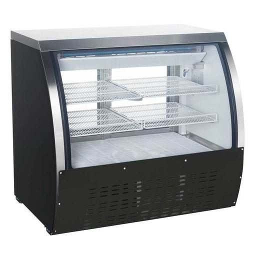 Omcan RS-CN-0120-B 47-inch refrigerated floor showcase with black coated steel exterior