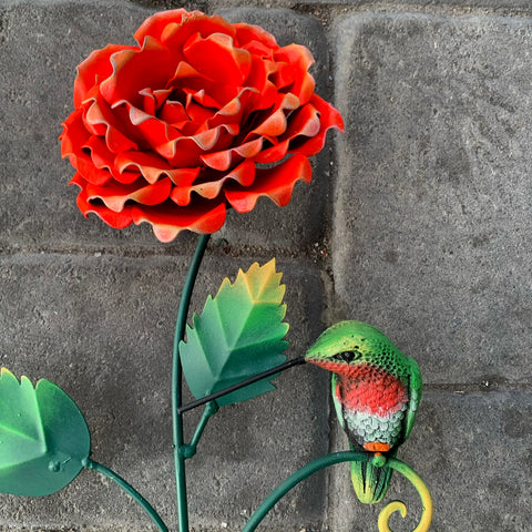 hummingbird Rose Sculpture