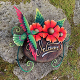 Hummingbird Floral Welcome Sign