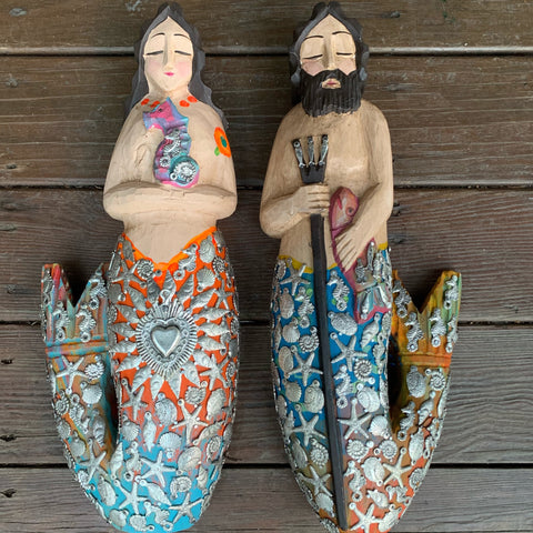 wood milagros mermaid and merman