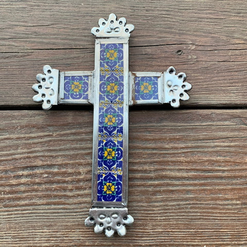 Talavera Tile Tin Cross