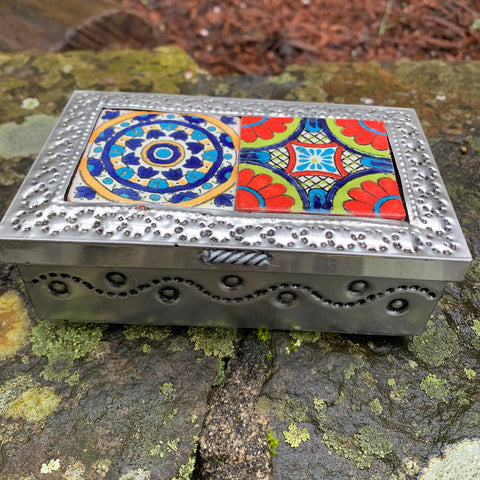 tin talavera box