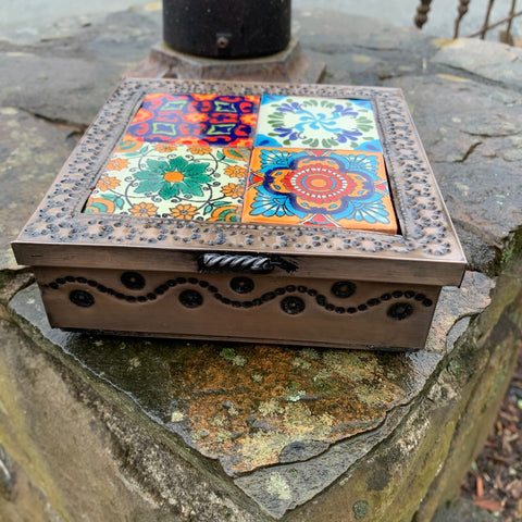 punched tin tile box