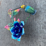 Hummingbird with Blue Flower