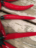 Chili Peppers - Skinny Red Chili String - Mexican Ceramic Hanging Peppers