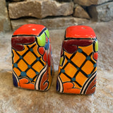 hand painted talavera salt and pepper