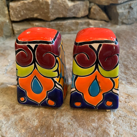 mexican talavera salt and pepper set
