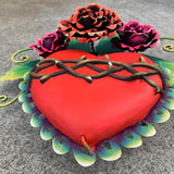 Sacred Heart with Roses Sculpture