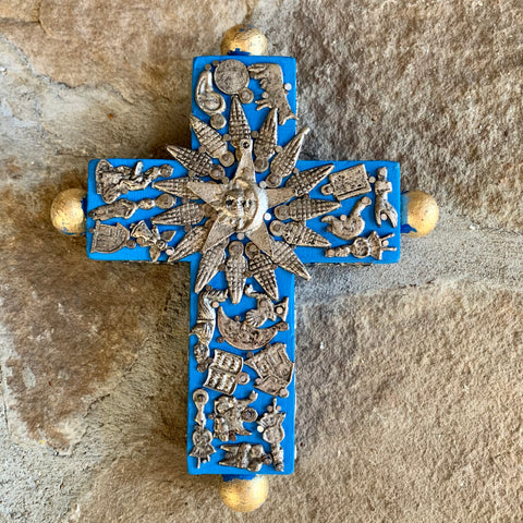 mexican milagros wood cross