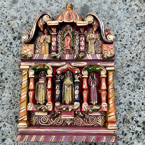Mexican wood retable with saints