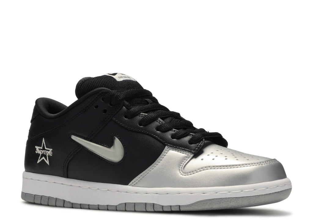 Nike SB Dunk Low Supreme Jewel Swoosh Silver