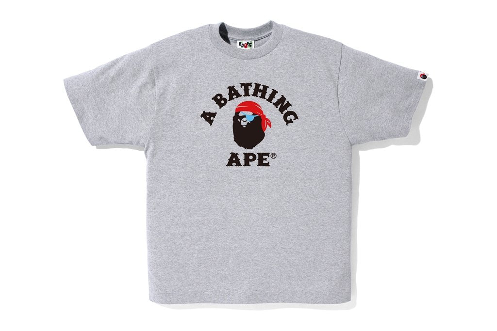 Bape Pirate College Tee Grey