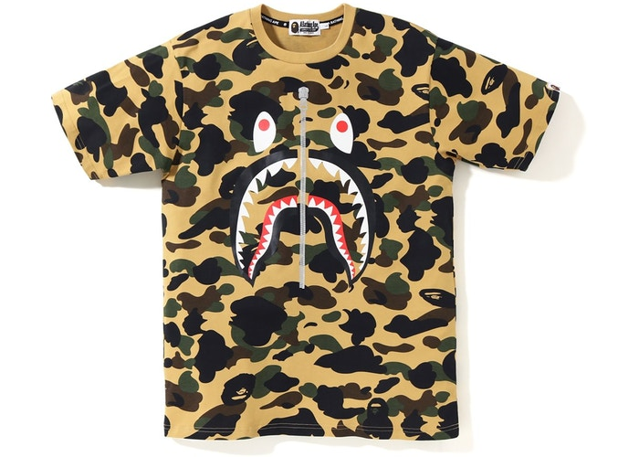BAPE 1st Camo PONR Shark Tee - Yellow