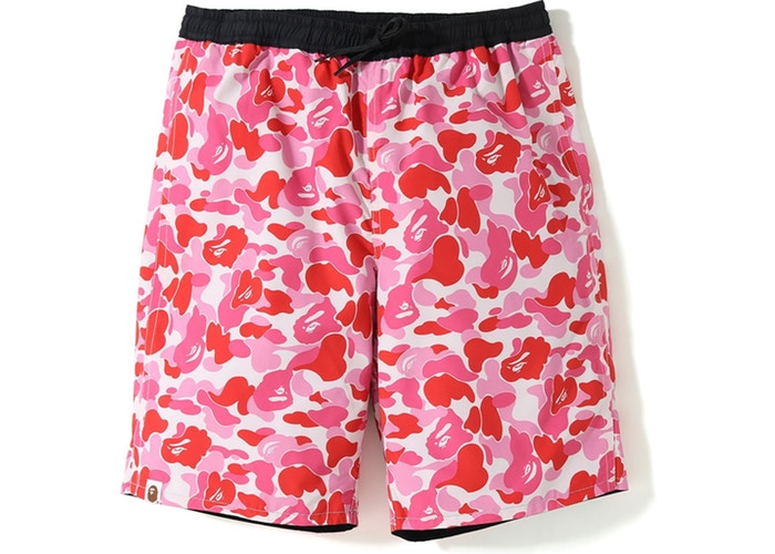 Bape ABC Reversible Swim Shorts -Pink Camo/Black