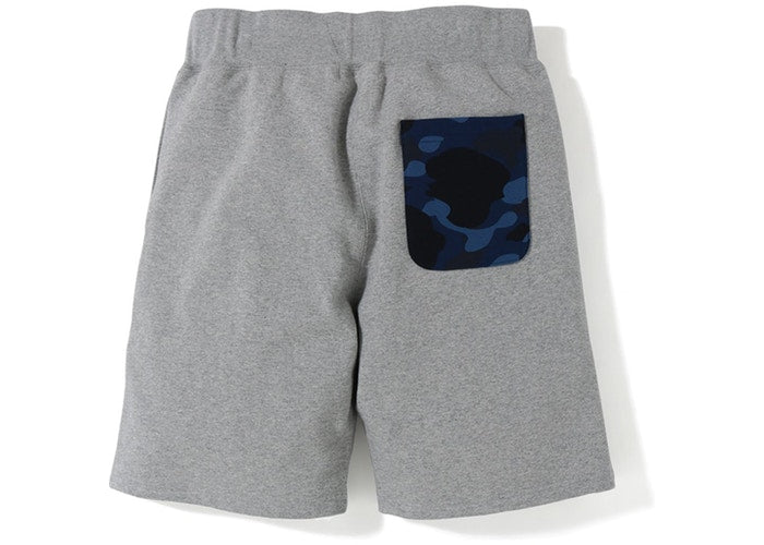 "Bape Sweat Shorts ""Shark Face"" -Grey/Blue Camo Pocket"