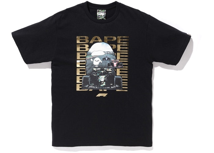 BAPE x F1 Photo Ape Head Tee Black