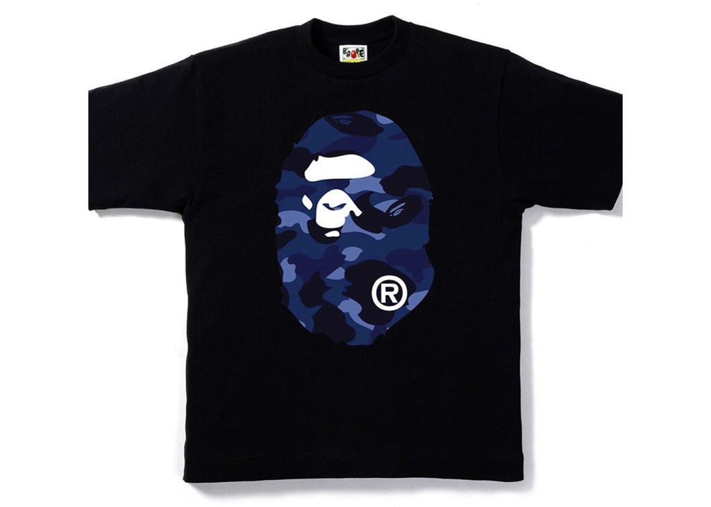 Bape Color Camo Big Ape Head Tee -Black/Navy
