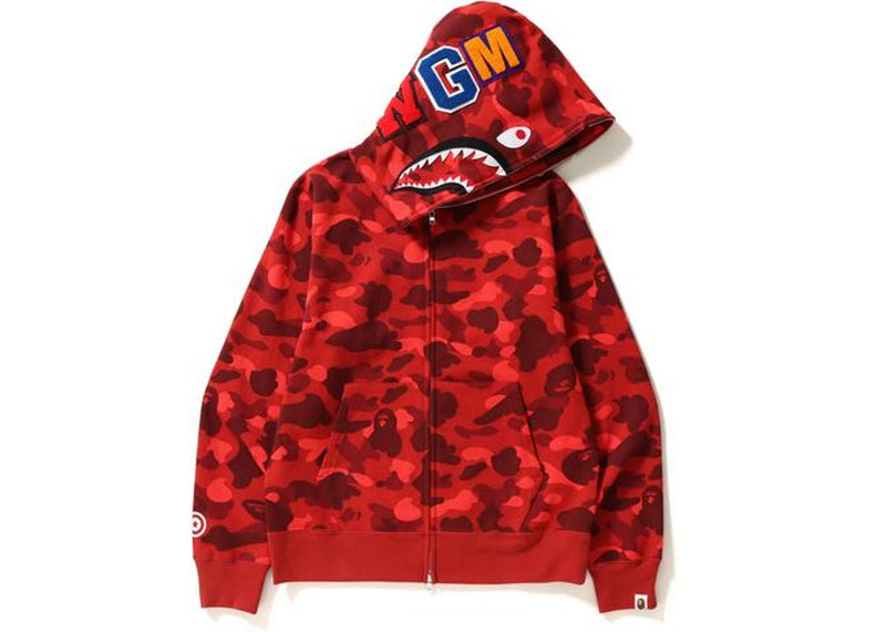 BAPE Color Camo Shark Full Zip Hoodie Red