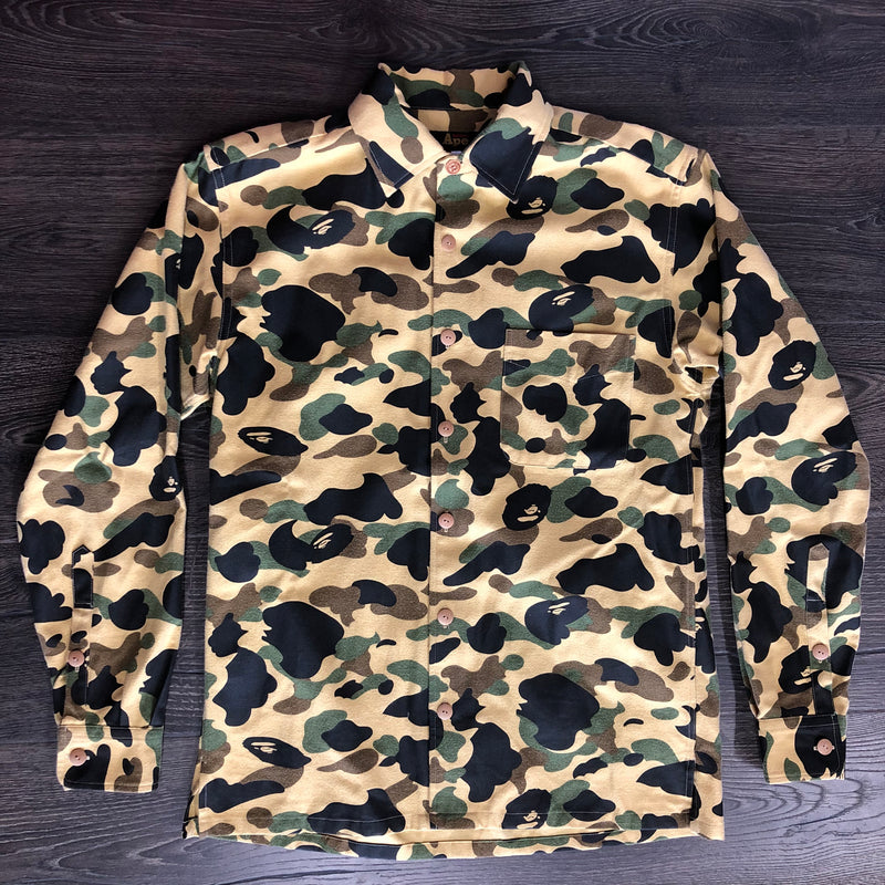 Bathing Ape Yellow Camo Button Up Jacket