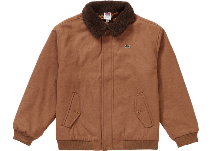 Supreme LACOSTE Wool Bomber Jacket - Tan