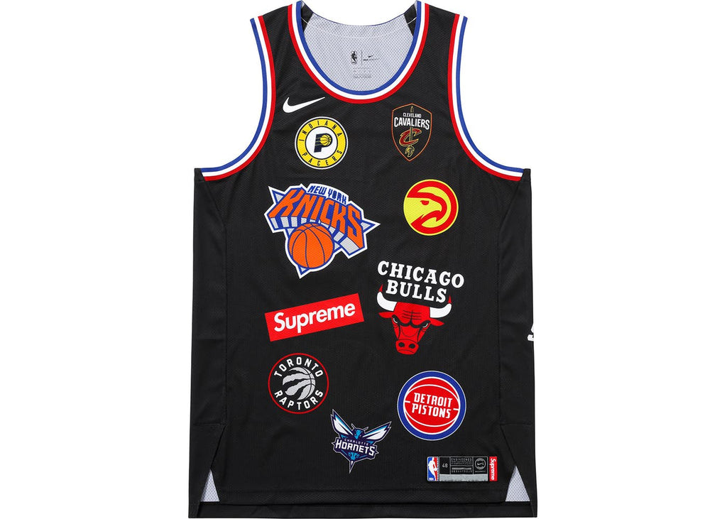 "SUPREME X NBA ""TEAMS"" JERSEY BLACK"