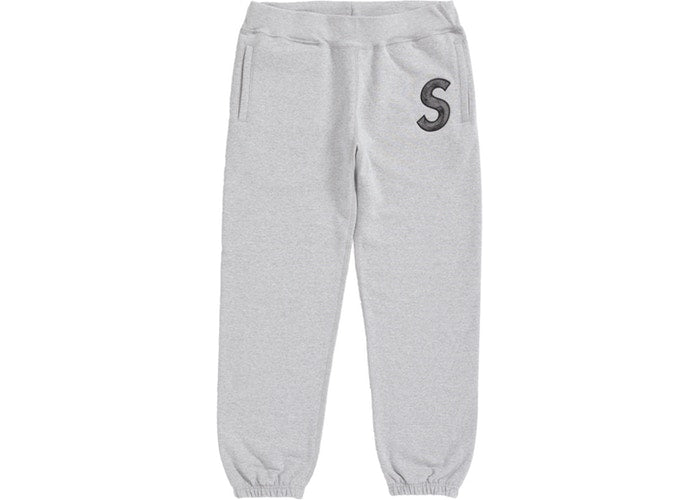 Supreme S Logo Sweatpants- Heather Grey