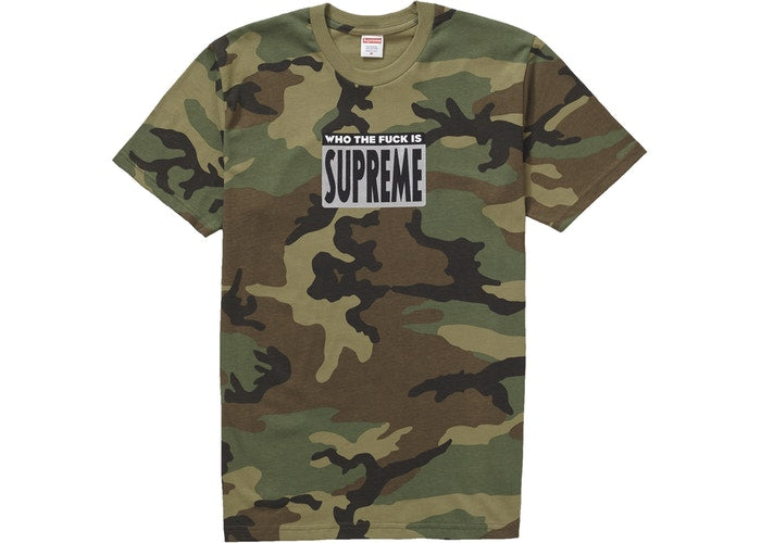 "Supreme Tee 'Who the Fuck"" -Woodland Camo"
