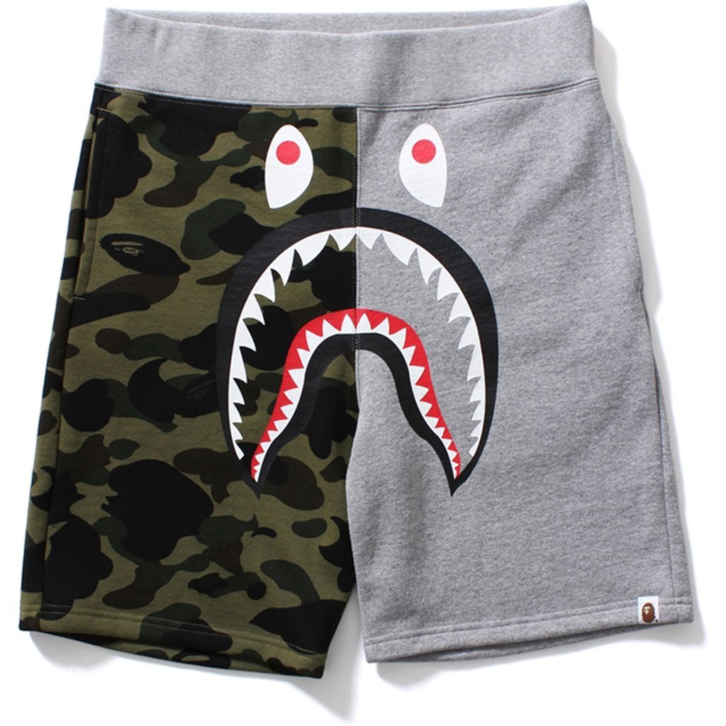Bape Shark Sweat Shorts Gray / Green Camo