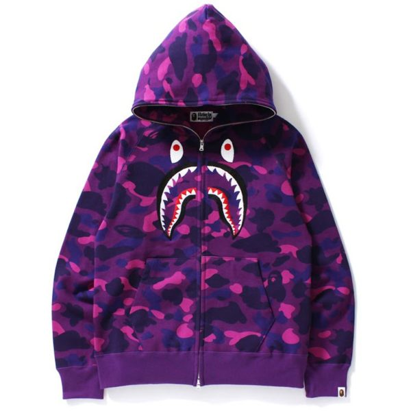 "Bape Full Zip Up Shark Hoodie ""Embroidery"""
