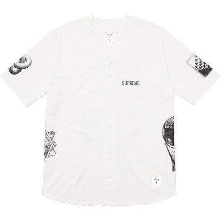 Supreme x MC Escher Baseball Jersey -White