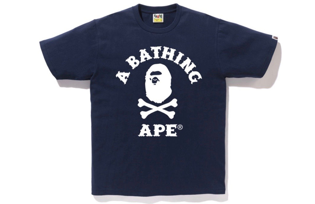 Bape Cross Bone College Tee Navy