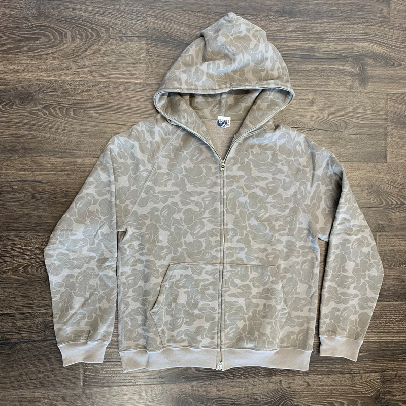 Bape Full Zip Up Hoodie- Grey Camo