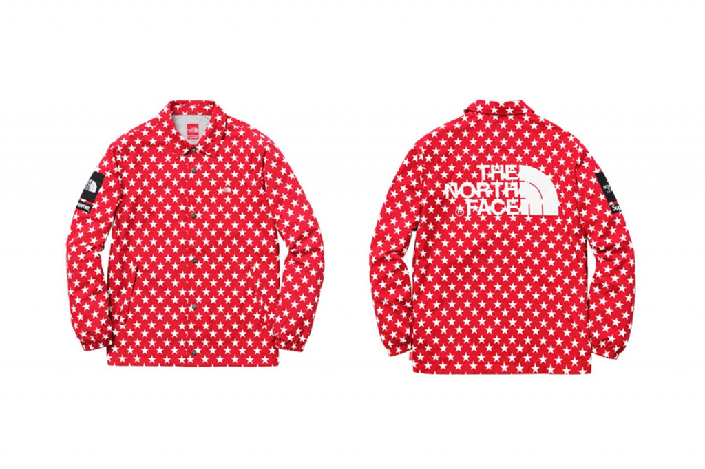 Supreme The North Face Packable Coach Jacket Stars SS15 Red