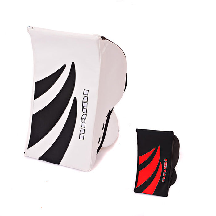 Image of NAMI Goalie Blockers in both colours.