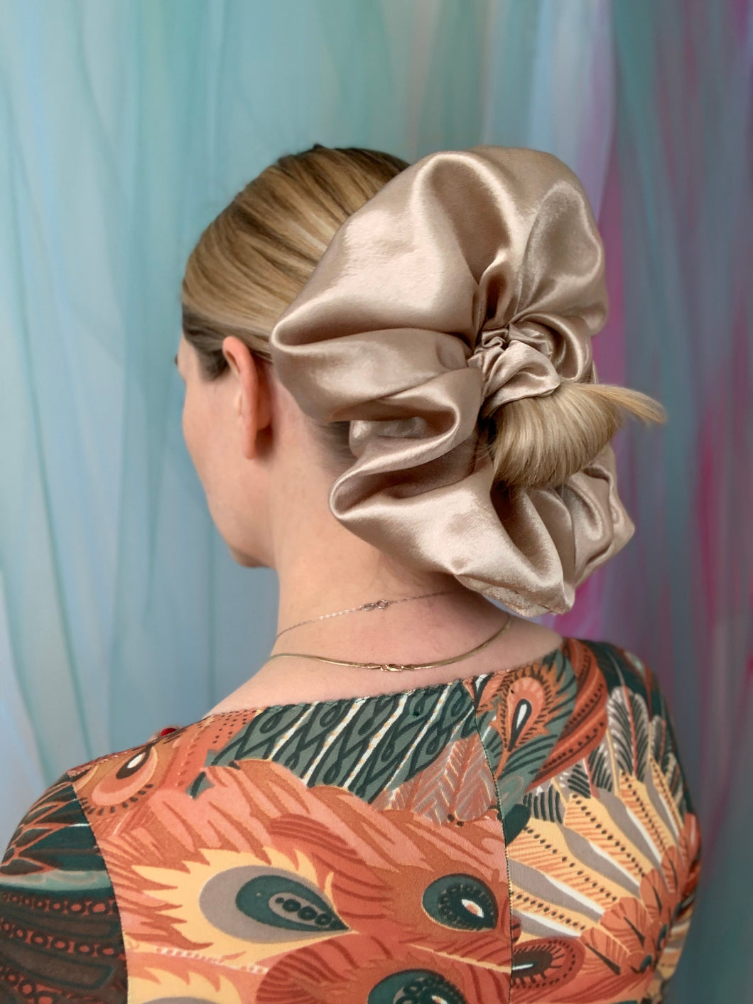 Giant Satin Scrunchie - Shiitake