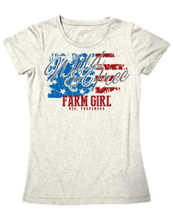 Farm Girl Wild and Free Americana  Tee Shirt