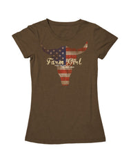 Farm Girl Bull Flag Tee