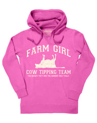 Farm Girl Cow Tipping Fleece Hoodie
