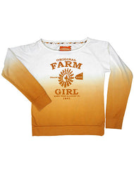 Farm Girl Crew Neck Fleece w Dip Dye & Flocking Printed Logo