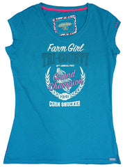 Farm Girl Tri County Champion Burn Out Tee Shirt