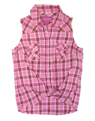 Farm Girl Pink Plaid Sleeveless Western