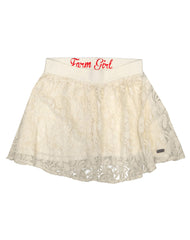 Farm Girl Ladies Ivory Lace Skirt